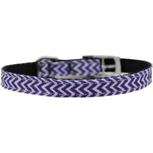 "Chevrons Nylon Dog Collar with classic buckle 3/8"" Purple Size 16"
