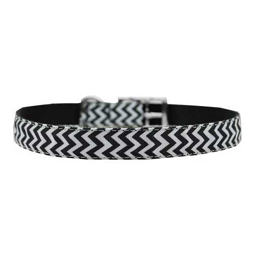 "Chevrons Nylon Dog Collar with classic buckle 3/4"" Black Size 24"