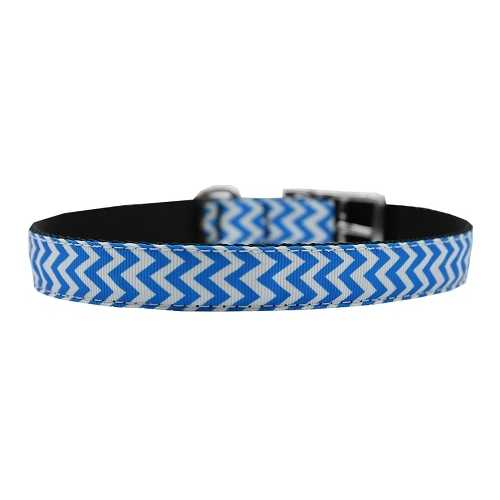 "Chevrons Nylon Dog Collar with classic buckle 3/4"" Blue Size 18"