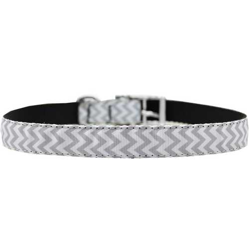 "Chevrons Nylon Dog Collar with classic buckle 3/4"" Grey Size 14"
