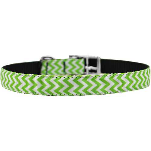 "Chevrons Nylon Dog Collar with classic buckle 3/4"" Lime Green Size 20"