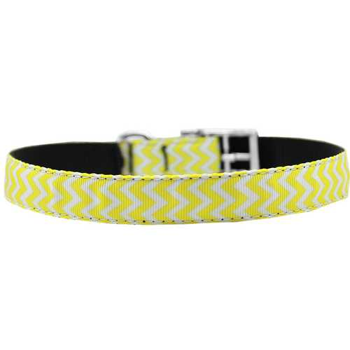 "Chevrons Nylon Dog Collar with classic buckle 3/4"" Yellow Size 16"