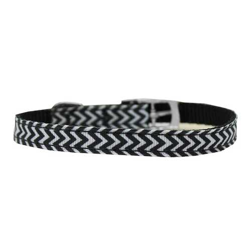 "Chevrons Nylon Dog Collar with classic buckle 3/8"" Black Size 12"