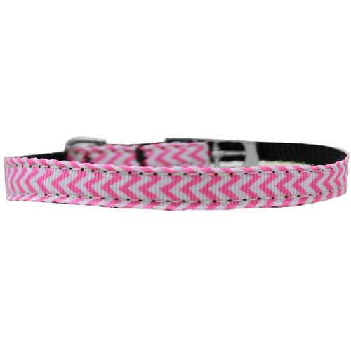"Chevrons Nylon Dog Collar with classic buckle 3/8"" Pink Size 12"