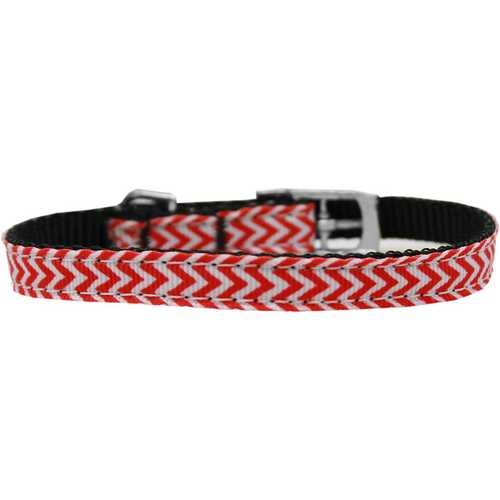 "Chevrons Nylon Dog Collar with classic buckle 3/8"" Red Size 16"