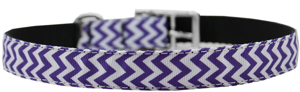 "Chevrons Nylon Dog Collar with classic buckle 3/4"" Purple Size 18"