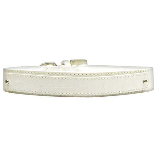 18mm  Two Tier Faux Croc Collar White Large