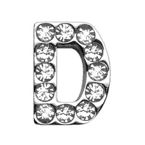 "3/4"" (18mm) Clear Letter Sliding Charms D 3/4 (18mm)"