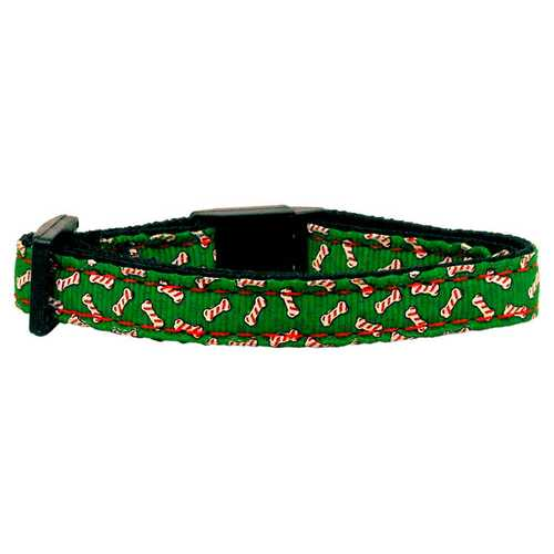 Candy Cane Bones Nylon and Ribbon Collars  . Cat Safety