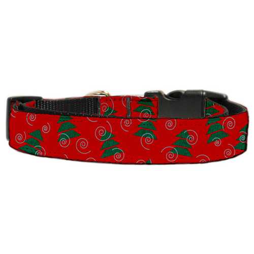 Christmas Trees Nylon and Ribbon Collars . Large