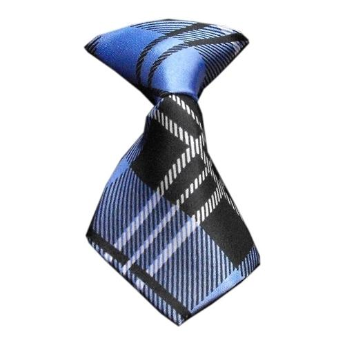Dog Neck Tie Plaid Blue
