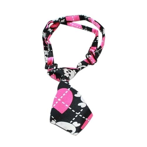 Dog Neck Tie Pink Argyle Skull