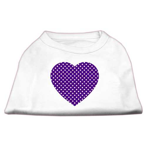 Purple Swiss Dot Heart Screen Print Shirt White XS (8)