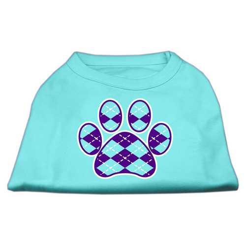 Argyle Paw Purple Screen Print Shirt Aqua XXL (18)