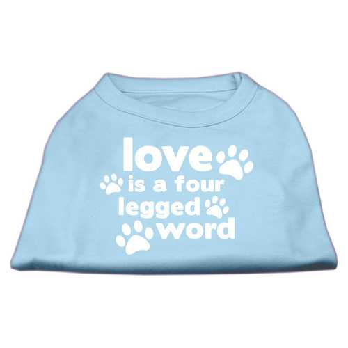 Love is a Four Leg Word Screen Print Shirt Baby Blue Lg (14)