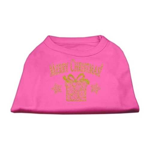 Golden Christmas Present Dog Shirt Bright Pink XL (16)