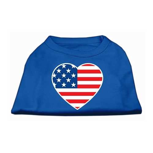 American Flag Heart Screen Print Shirt Blue XS (8)