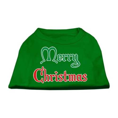 Merry Christmas Screen Print Shirt Emerald Green Lg (14)