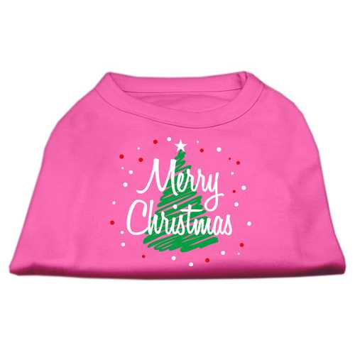 Scribbled Merry Christmas Screenprint Shirts  Bright Pink S (10)