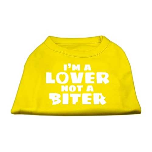 I'm a Lover not a Biter Screen Printed Dog Shirt Yellow XL (16)