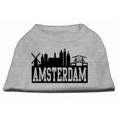 Amsterdam Skyline Screen Print Shirt Grey Lg (14)