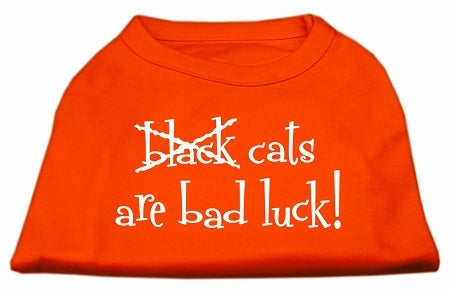 Black Cats are Bad Luck Screen Print Shirt Orange XS (8)