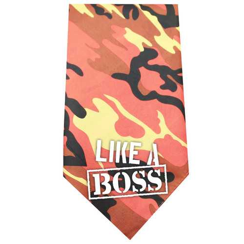 Like a Boss Screen Print Bandana Orange Camo