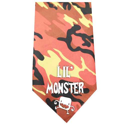 Lil Monster Screen Print Bandana Orange Camo