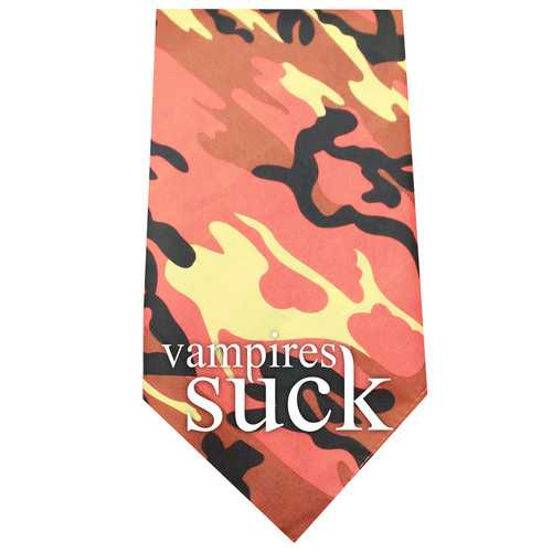 Vampires Suck Screen Print Bandana Orange Camo