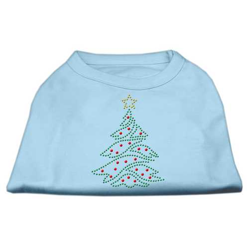 Christmas Tree Rhinestone Shirt Baby Blue XXXL(20)