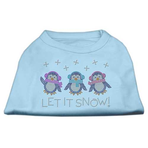 Let It Snow Penguins Rhinestone Shirt Baby Blue M (12)
