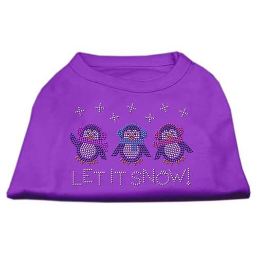 Let It Snow Penguins Rhinestone Shirt Purple S (10)