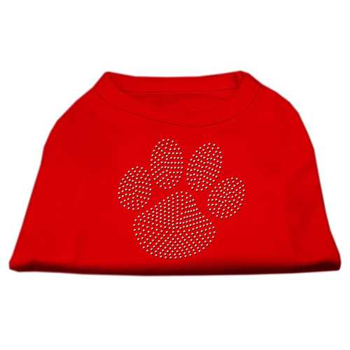 Clear Rhinestone Paw Shirts Red XS (8)