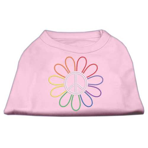 Rhinestone Rainbow Flower Peace Sign Shirts Light Pink XXL (18)