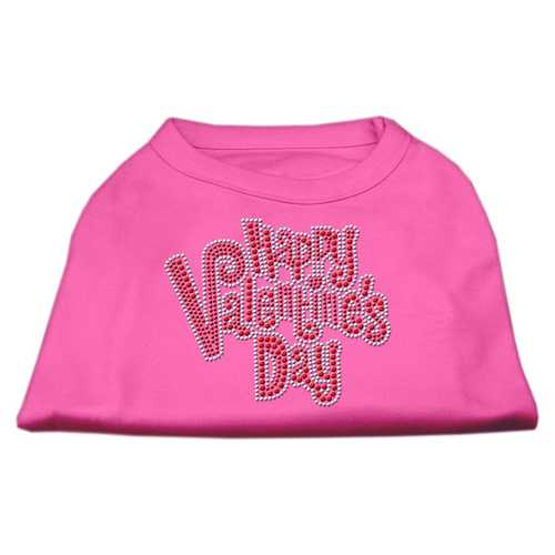 Happy Valentines Day Rhinestone Dog Shirt Bright Pink Med (12)