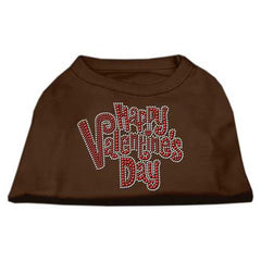 Happy Valentines Day Rhinestone Dog Shirt Brown Sm (10)