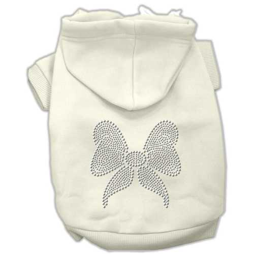 Rhinestone Bow Hoodies Cream L (14)