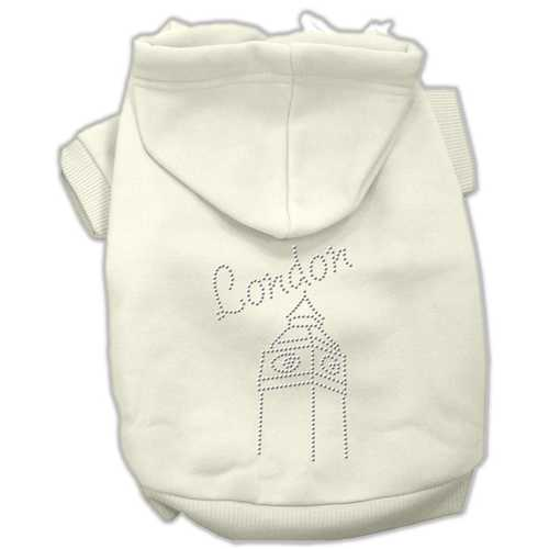 London Rhinestone Hoodies Cream S (10)