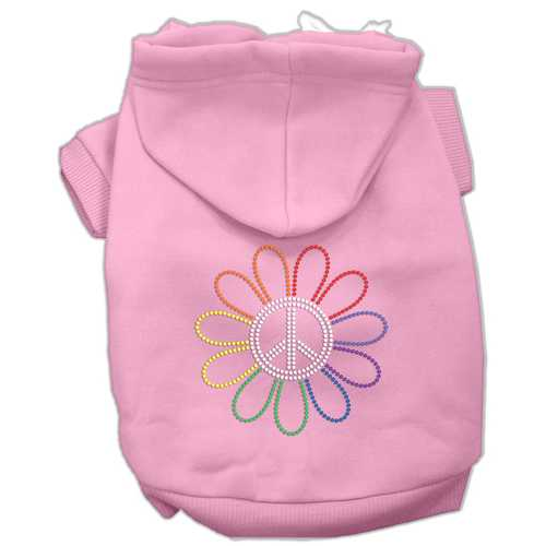 Rhinestone Rainbow Flower Peace Sign Hoodie Pink XL (16)
