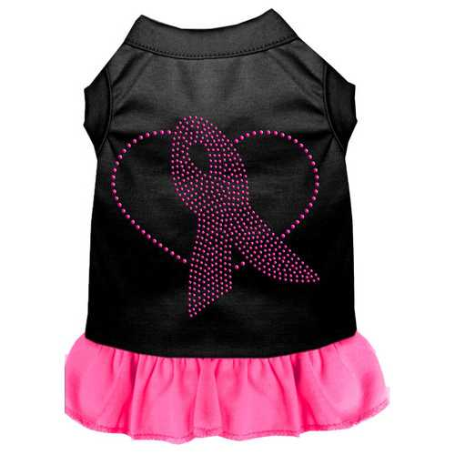 Pink Ribbon Rhinestone Dress Black with Bright Pink Lg (14)