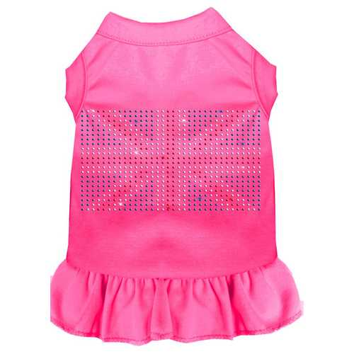 Rhinestone British Flag Dress Bright Pink XXL (18)