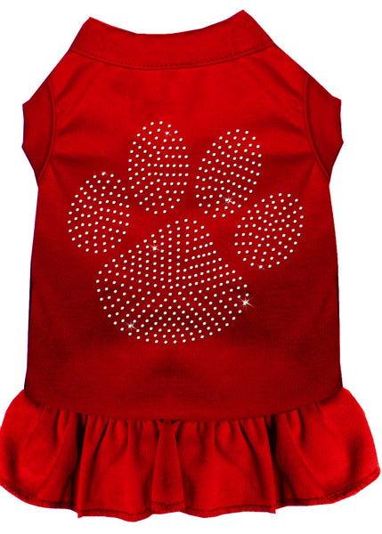 Rhinestone Clear Paw Dress Red XS (8)