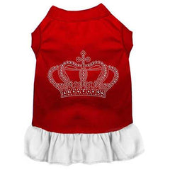 Rhinestone Crown Dress Red with White XS (8)