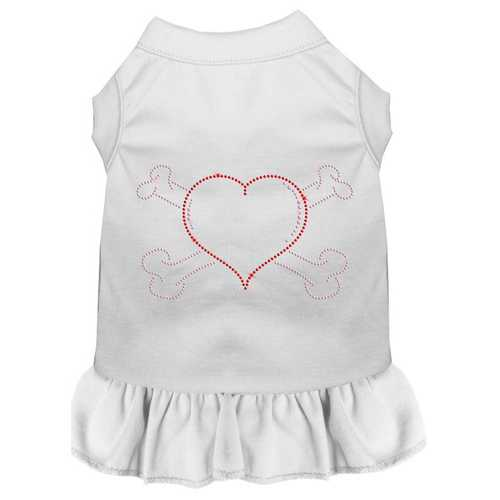 Rhinestone Heart and crossbones Dress White XXL (18)