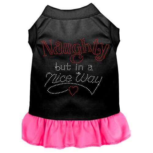Rhinestone Naughty but in a nice way Dress Black with Bright Pink XXL (18)