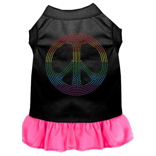 Rhinestone Rainbow Peace Dress Black with Bright Pink Med (12)