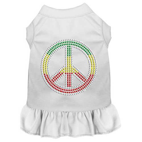 Rhinestone Rasta Peace Dress White Sm (10)