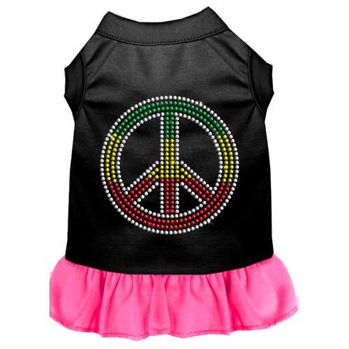 Rhinestone Rasta Peace Dress Black with Bright Pink XXXL (20)