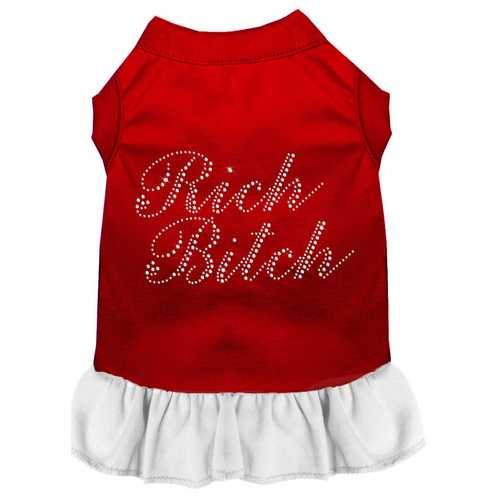 Rhinestone Rich Bitch Dress Red with White Med (12)