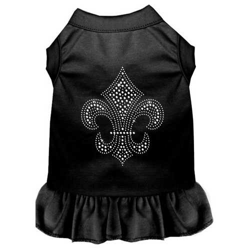 Silver Fleur de Lis Rhinestone Dress Black 4X (22)